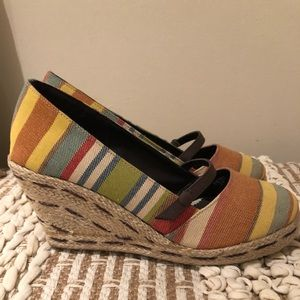 Dexter Wedges Multi Colored Striped Canvas Wedge